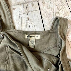 Eddie Bauer Olive Bib Overalls Maxi Dress Size XL